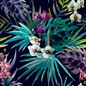 picture of jungle flowers  - trend illustration pink object brush purple exotic - JPG