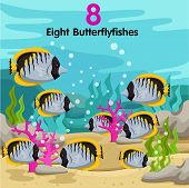 stock photo of butterfly fish  - Illustrator of number with eight butterfly fish - JPG