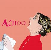 picture of sneezing  - an illustration of a sneezing woman while holding a handkerchief in her hands - JPG