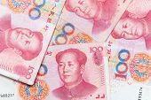 stock photo of yuan  - Modern Chinese yuan renminbi banknotes close up photo background - JPG