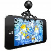 Touch Screen Mobile Device Weather Report poster