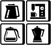 set icons with kettle and percolator poster