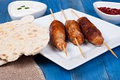 image of home-made bread  - Cevapcici with tzatziki and home made flatbread - JPG