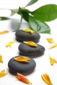 stock photo of stone-therapy  - studio shot of therapy stones for hot stone therapy - JPG