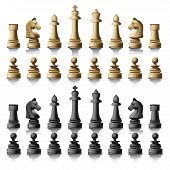 pic of chess piece  - Chess pieces silhouettes isolated on white background - JPG