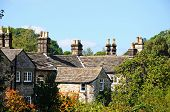 pic of chimney  - Cottage rooftops with chimney pots Bakewell Derbyshire England UK Western Europe - JPG