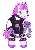 picture of maliciousness  - Malicious unicorn dressed in brutal clothing holding battle chain - JPG
