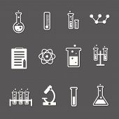 foto of retort  - Set of white science and research icons on a grey background depicting laboratory glassware test tubes glass  atom  thermometer and retort stand  vector - JPG