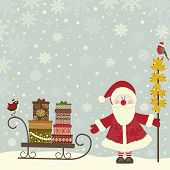 image of santa sleigh  - Christmas greeting card with Santa Claus and sleigh with gift packs - JPG