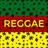 stock photo of reggae  - Postcard with silhouettes of leaves of marijuana and Reggae label - JPG