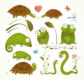 image of lizards  - Brightly colored childish frogs turtles snakes lizards grass leaves - JPG