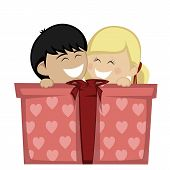 stock photo of huddle  - A blonde girl and a black haired boy huddling and smiling with a big gift box - JPG