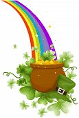picture of end rainbow  - Pot of Gold at the End of the Rainbow with Clipping Path - JPG