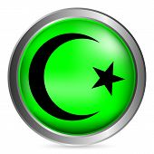 image of crescent-shaped  - Star and crescent button on white background - JPG