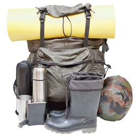picture of thermos  - set of camping equipment with backpack rolled sleeping pad boots thermos knife flask can sleeping bag isolated on white background - JPG