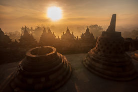 picture of arjuna  - Borobudur Temple at sunrise Yogyakarta Java Indonesia. (silhouette scene)