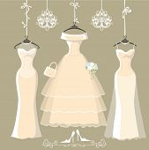 picture of short skirt  - The composition of  three long bridal dresses with short skirt - JPG
