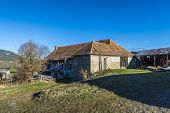 stock photo of farm-house  - Landscape with old farm house in Seigne des Alps in France - JPG