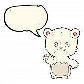 pic of bear-cub  - cartoon polar bear cub waving with speech bubble - JPG
