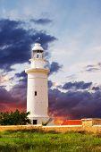 stock photo of lighthouse  - Lighthouse and beautiful sky sunset - JPG