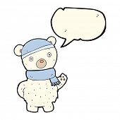 image of crazy hat  - cartoon polar bear in winter hat and scarf with speech bubble - JPG