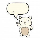 stock photo of bear-cub  - cartoon waving polar bear cub with speech bubble - JPG
