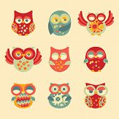 picture of owls  - Vintage Decor Owl Set - JPG