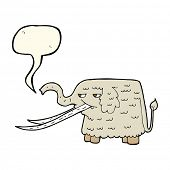 picture of mammoth  - cartoon woolly mammoth with speech bubble - JPG