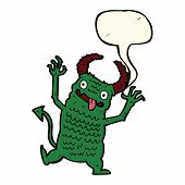 picture of demons  - cartoon demon with speech bubble - JPG