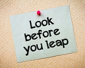 stock photo of leaping  - look Before You Leap Message - JPG