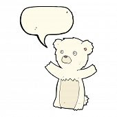 pic of bear cub  - cartoon polar bear cub with speech bubble - JPG