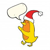 stock photo of crazy hat  - cartoon bird wearing xmas hat with speech bubble - JPG