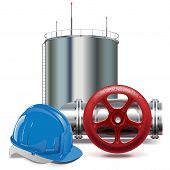 pic of valves  - Oil Industry concept with oil cistern - JPG