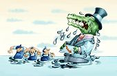image of crocodile  - rich with the muzzle crocodile and with a pattern of loss business in hand so many crying crocodile tears that engulfs workers - JPG