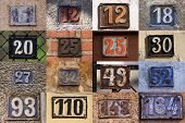 picture of numbers counting  - House numbers in different styles and colors  - JPG