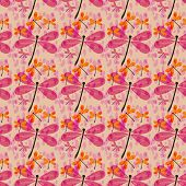 stock photo of dragonflies  - seamless pattern with dragonflies and rain drops - JPG