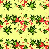 image of dragonflies  - seamless pattern with leaves and dragonflies on yellow background - JPG
