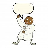 foto of mad scientist  - cartoon mad scientist with speech bubble - JPG