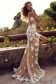 pic of blonde  - fashion outdoor photo of beautiful sensual woman with blond hair in luxurious lace dress posing in summer park - JPG