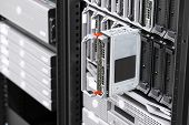 stock photo of racks  - Installation of blade servers in a enterprise data center - JPG