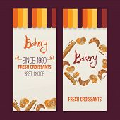 picture of pretzels  - Vector watercolor hand drawn bakery set of banners with croissant - JPG
