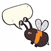 stock photo of bee cartoon  - cartoon frightened bee with speech bubble - JPG