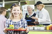 picture of canteen  - Female Pupil With Healthy Lunch In School Canteen