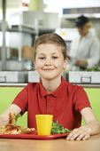 picture of pupils  - Male Pupil Sitting At Table In School Cafeteria Eating Lunch - JPG