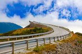 picture of fjord  - Famous bridge through fjord on the Atlantic road in Norway  - JPG