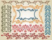 stock photo of art nouveau  - big set pattern element art nouveau color - JPG