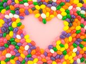 image of jelly beans  - Frame and background made of colorful jelly beans - JPG