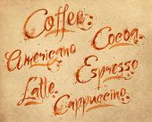 picture of latte coffee  - Drawn names of different kinds of coffee - JPG