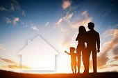 stock photo of dream home  - Family dream about a new house - JPG