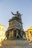 picture of munich residence  - famous munich residence with statue of king Luitpold - JPG